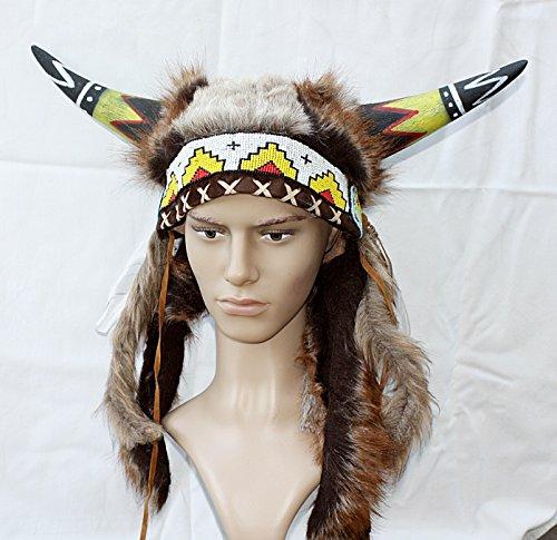 Indianer Kopfschmuck UNIKAT Hörnerhaube echter Horn für FOTOSHOOTING Fasching Kostüm Medizinmann (Kostüme Unikate)