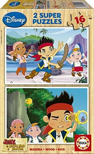 Educa 15596 - 2 x 16 Holzpuzzle - Disney Jake und die Nimmerland ()