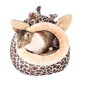 Maison niche de chien avec coussin amovible lit panier doux avec motif de girafe très magnifique pour chiot chien chat etc.S/M/l