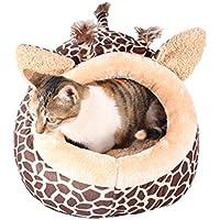 LA VIE Casa Adorable para Mascotas Diseño de Jirafa Cueva Hideout para Gato Cesta Cama Nido Cálido Suave para Gato Perros Pequeños Animales Pequeños S