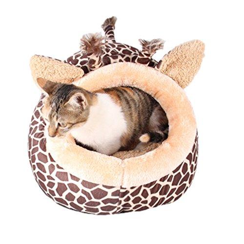 LA VIE Hochwertig Hundehöhle Giraffe Form Tierbett Katzenbett Kleines Haustier Haus & Sofa Hundehütte Korb Gemütlich Plüsch Zwinger mit Schlafplätze für Hunde Katzen Welpen L
