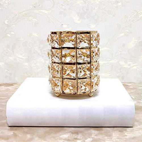 JIESD-Z Romantischer Kristall-Kerzenhalter für Zuhause, Hochzeit, Zuhause, Abendessen, Party, Restaurant, Hotel, Dekoration - Brush Pot - Gold Pot Metal Plating