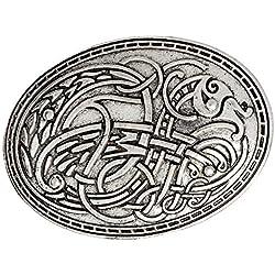 P Prettyia Broches De Escudo Vikingo, Sujetadores De Ropa De Tótem De : Capa, Chal, Alfiler De Bufanda, Alfiler De Solapa Nórdico Celta, Joyería Vintage - Plata, 4.2x5.8cm