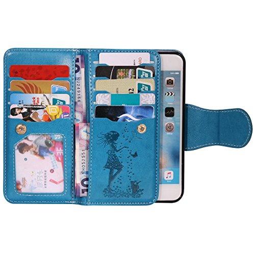 FESELE iPhone 6 Plus / 6S Plus coque Bling bling en cuir PU mousseux couverture avec strass Diamant Belle femme de papillon de chat motif fleur de peinture étui en cuir PU Cuir Flip Magnétique Portefe Chat,Bleu