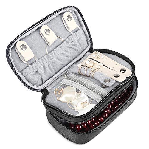 ProCase Schmuck Travel Case Organizer Tasche, weich gepolsterte Doppelschicht Schmuck Tragetasche Portable Schmuck Lagerung Inhaber für Ohrringe, Ringe, Halsketten, Uhren und Ketten-schwarz
