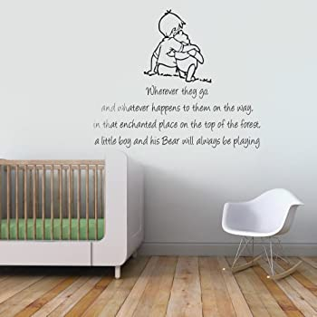 Winnie The Pooh And Christopher Robin Wherever You Go Quote Childrenu0027s  Bedroom Kids Room Playroom Baby Nursery Wall Sticker Wall Art Vinyl Wall  Decal Wall ... Part 73