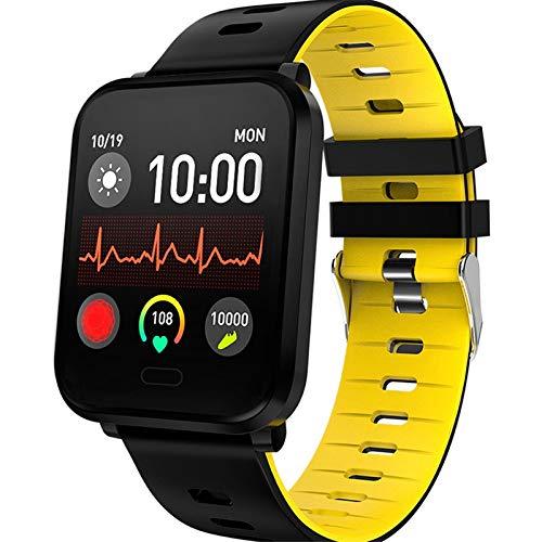 Erwachsene, Blutdruckmesser (ZLOPV Intelligente Uhr Super Slim Smart Watch IP68 Wasserdicht Multi Sport Modi Fitness Tracker Pulsmesser Smartwatch Blutdruckmesser, Gelb)