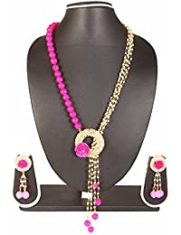 Adoreva Antique Pink Baby Pink White Gold Plated Alloy Pearl Fashion Necklace Earrings Set For Women
