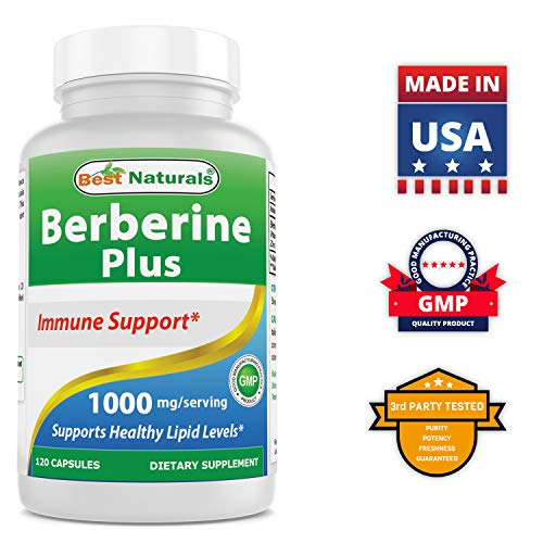 #1 Berberine plus 1000 mg 120 Capsules - Contain Vitamin C - Zinc - Supports Healthy immune System - Manufactured in a USA Based GMP Certified Facility and Third Party Tested for Purity. Guaranteed!!