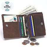 DUEBEL Herren Leder Brieftasche / Münzfach / Münztüte - Hält 9 Kreditkarten, 1 ID Fenster, 1 Bill Kompartment, 1 Seite Reißverschluss Tasche