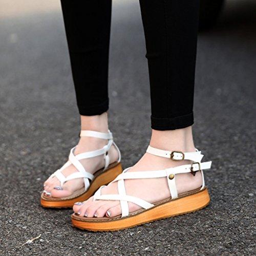 Yiiquan Femmes Chaussures Plates Voyage Sandales de Loisir Peep-Toe Tongs Roma Chaussures Blanc