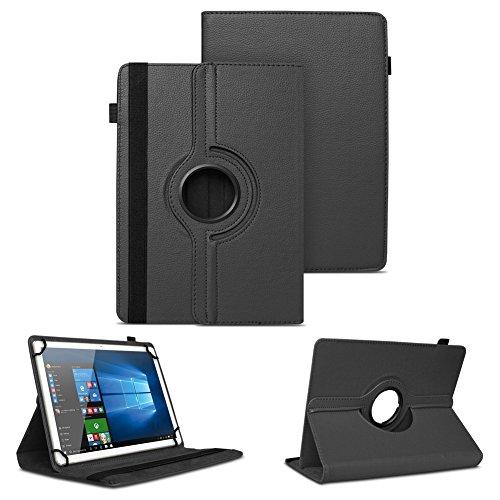NAUC XORO PAD 9W4 PRO Universal Tablet Schutzhülle hochwertiges Kunst-Leder Hülle Tasche Standfunktion 360° Drehbar Cover Case, Farben:Schwarz