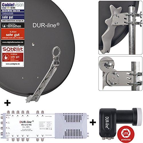 DUR-line 12 Teilnehmer Set - Qualitäts-Alu-Satelliten-Komplettanlage - Select 75/80cm Spiegel/Schüssel Anthrazit + Multischalter + LNB - für 12 Receiver/TV [Neuste Technik, DVB-S2, 4K, 3D]