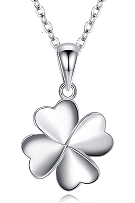 Sterling Silver Womens 1mm Box Chain Small Four Leaf Clover Good Luck Pendant Necklace