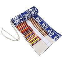 Ommda Wrap Leinwand Stifterolle für 36 Buntstifte und Bleistifte Stifteetui Roll-up Mäppchen Verpackung Mehrzwecktasche für Reisen Schule Büro Kunst Exotischer Elefant Stil