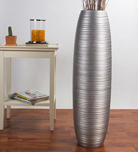 Grande vaso da terra 90 cm, legno di mango, argento