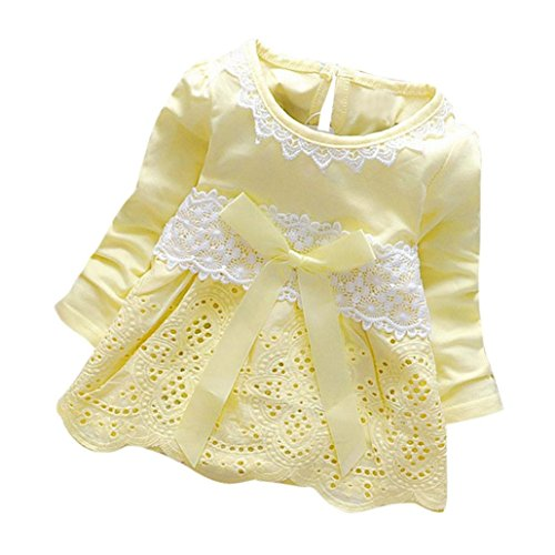 Herbst Kleidung Langarm Prinzessin Blumen Mädchen Kleid Bogen Spitzenkleid Party Kleid (0-24Monate) (70CM 6Monate, Yellow) (Party Stadt Kostüme Für Babys)