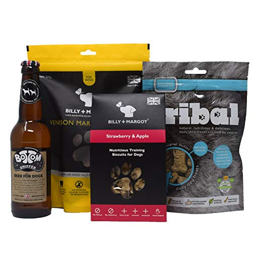 Dog Treat Gift Set - Bottom Sniffer Dog Beer, Venison Marrow Bones & Healthy Dog Treats Gift Box from Not in the Dog House