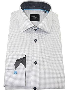 Venti Herrenhemd slimfit weiß/graues Karohemd langarm Kent Kragen ohne Tasche Kollektion Size 46