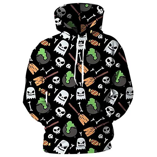 XIAOGUdeHDS Schädel Hoodies Männer Frauen 3D Full Print Ghost Candy Besen Swearshirts Anime Cartoon Mit Kapuze Mode Winter Trainingsanzüge, XXL (Halloween Cartoon Besen)