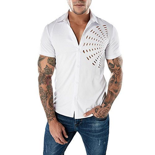 MNRIUOCII T-Shirt Mode Herren Slim Fit PersöNlichkeit Kurzarm Hemden Casual Solid Color Pullover Shirt Sommer Trikot Stehkragen Sektor-Anteil MäNner Kurzarm-T-Shirt Sweatshirt