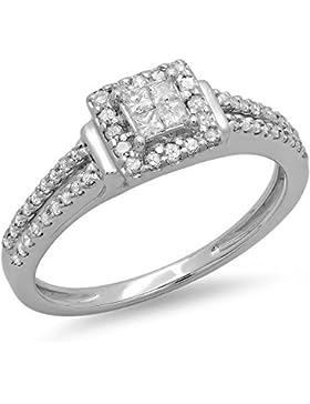 Damen Ring 0.45 Karat 14 Karat Weißgold Princess & Rund Schnitt Diamant Ring 1/2 Karat