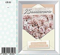 Idea Regalo - Biglietto auguri anniversario 25 anni matrimonio fiori marpimar