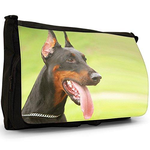 Doberman Pinscher Dog Grande borsa a tracolla Messenger Tela Nera, scuola/Borsa Per Laptop Doberman Pinscher