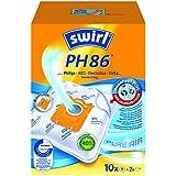 Swirl PH86 MicroPor Plus Staubsaugerbeutel für Philips Staubsauger, 10er Big Pack, 10 Stück + 2 Filter