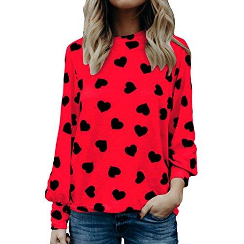 Kolylong ❤❤Valentine Gift Sweatshirt Damen Elegant Herz Drucken Langarm Blusen Lässig Langarm Shirt Festlich Oberteile Pullover Pulli Mode T-Shirt Hemd Tunika Top (Rot, S)