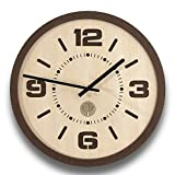 Wanduhr Loft Tavolo aus Holz – Runde dekorative Uhr mit MDF-Hintergrund – Leiser und nicht tickend mit Quarz-Sweep- Uhrwerk – Design Wanduhr für Esszimmer, Wohnzimmer und Küche – in venge und eiche Farben
