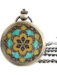 Maybesky Reloj de Bolsillo mecánico numberal Romano de Concha de Bronce con Cadena Caja de Regalo para cumpleaños Aniversario día Nav