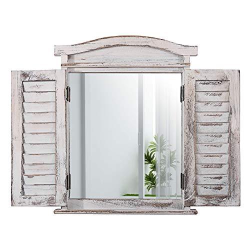 fensterladen alt Mendler Wandspiegel Spiegelfenster mit Fensterläden 53x42x5cm ~ weiß shabby