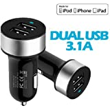 Vanda®- Chargeur Adaptateur Allume-cigare haute performance double sorties USB Max 3.1A 15.5W pour iPad, iPhone, iPod, iTouch, GPS, Samsung Galaxy S4, samsung Galaxy Note 3, HTC One, Sony Xperia Z, smartphones, GPS ect, charger deux appariels en même temps-Noir+Gris