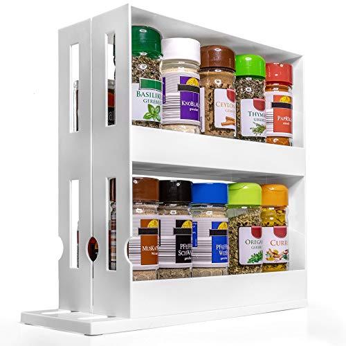 stehend weiß - praktisches Gewuerzregal in schmal und ausziehbar - platzsparender Gewürzhalter für Ordnung im Küchenschrank (Version 2.0) (Weiß) ()