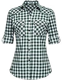 Unibelle Hemd Kariertes Damen Bluse Karohemd Langarm Baumwolle V-Ausschnitt Casual Boyfriend Blusenshirt mit Einstellbare Ärmeln S-XXXL