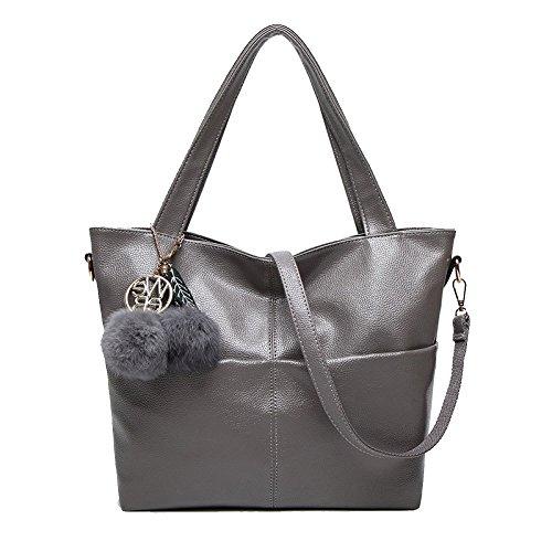 ZLLNSXKB Lady Fashion Handtasche Wilde Einfache Umhängetasche Elegante Umhängetaschen Tagesrucksack Einkaufen Ausflug,Grey-31*13*29cm