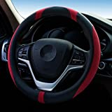 QLL Cubierta universal del manillar de la microfibra de la nueva cubierta 2018 del volante del volante , black red , 38cm