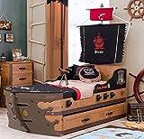 Cilek PIRATE M Bett Kinderbett Piratenbett Schiff Braun 90x195 cm, Matratze Sondermaße Oval:ohne Matratze