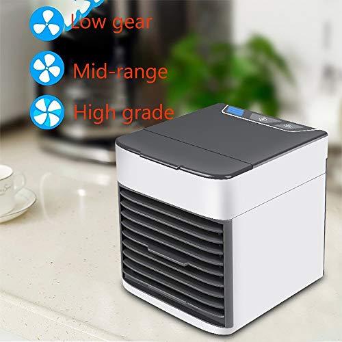 Mini Klimaanlage Kühlung kleine tragbare USB-Multifunktions-Silent-Luftkühler Büro-Schlafsaal Home Desktop blattlosen Lüfter Klimaanlage Lüfter Nachtlicht (senden Sie DREI Eissäcke)