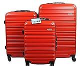 Dublin 3 set da 3 pezzi valige trolly in ABS e policarbonato con 4 ruote girevoli 360° gradi colori vari (rosso) immagine