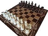 Nuevo juego de ajedrez y backgammon de madera de haya, hecho a mano, 38 x 38 cm (marrón / blanco)