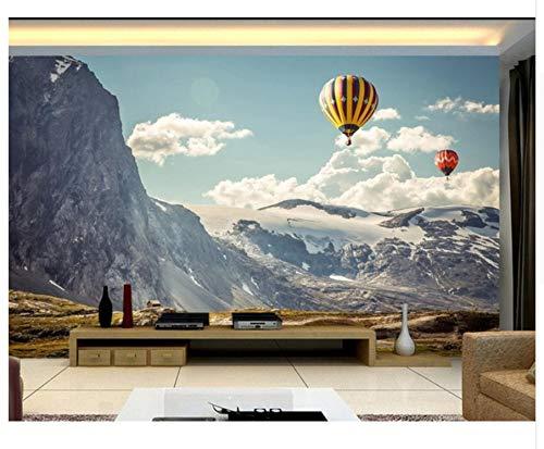 3D Tapete Wandgemälde Schnee-Gebirgsminimalistischer moderner Heißluft-Ballon Seidentuch Kleber senden 450x300cm