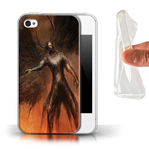 Offiziell Chris Cold Hülle / Gel TPU Case für Apple iPhone 4/4S / Pack 10pcs Muster / Dunkle Kunst Dämon Kollektion Schwarzen Flügeln