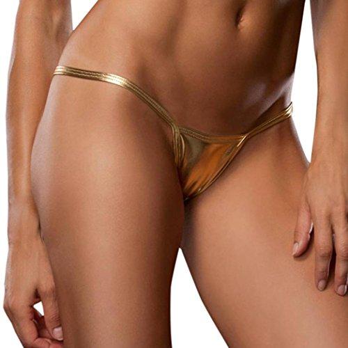 URSING Damen Reizwäsche Dessous Frauen Wetlook Sexy Bare Kunstleder Unterhose Dessous Lady Bikini Thongs Unterwäsche Lingerie Unterhosen Briefs Tanga Slips Shorts Niedrigtaille Underwear (Gold)