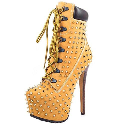 Onlymaker Damen Stiefel Pumps Boots Kurzschaft Stiefeletten Zehenkappe High Heels mit Nieten Beige EU35 Studded Platform Pump