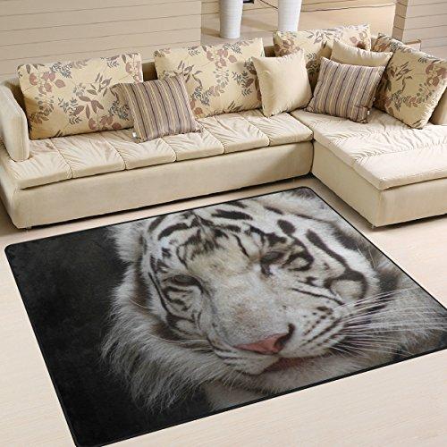 he Teppiche weiß Tiger Gedruckt, leicht rutschfeste antistatisch wasserabweisend Boden Teppich für Wohnzimmer Schlafzimmer Home Deck, 160x 122cm ()