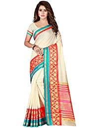 Florence Pure Cotton Saree With Blouse(FL-Kat_White1)