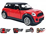 #4: 1:32 scale metal diecast car with pullback action ( light and sound) (mini cooper-Red)