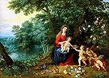 JH Lacrocon Jan Brueghel Il Giovane - Madonna col Bambino Putti Paesaggio Riproduzioni Quadro Stampa su Tela Arrotolata 60X45 cm - Dipinti Religioso Decorazione da Parete